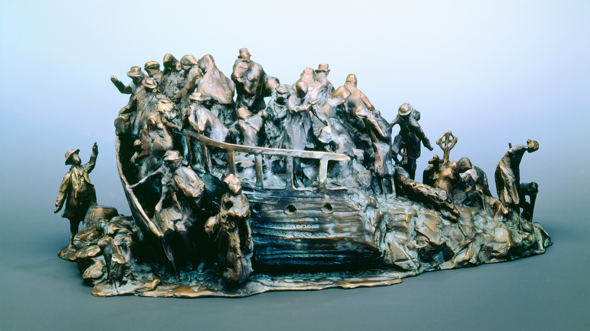 "A photo of the sculpture entitled ""Irish Famine Memorial Maquette"" by the artist Glenna Goodacre"