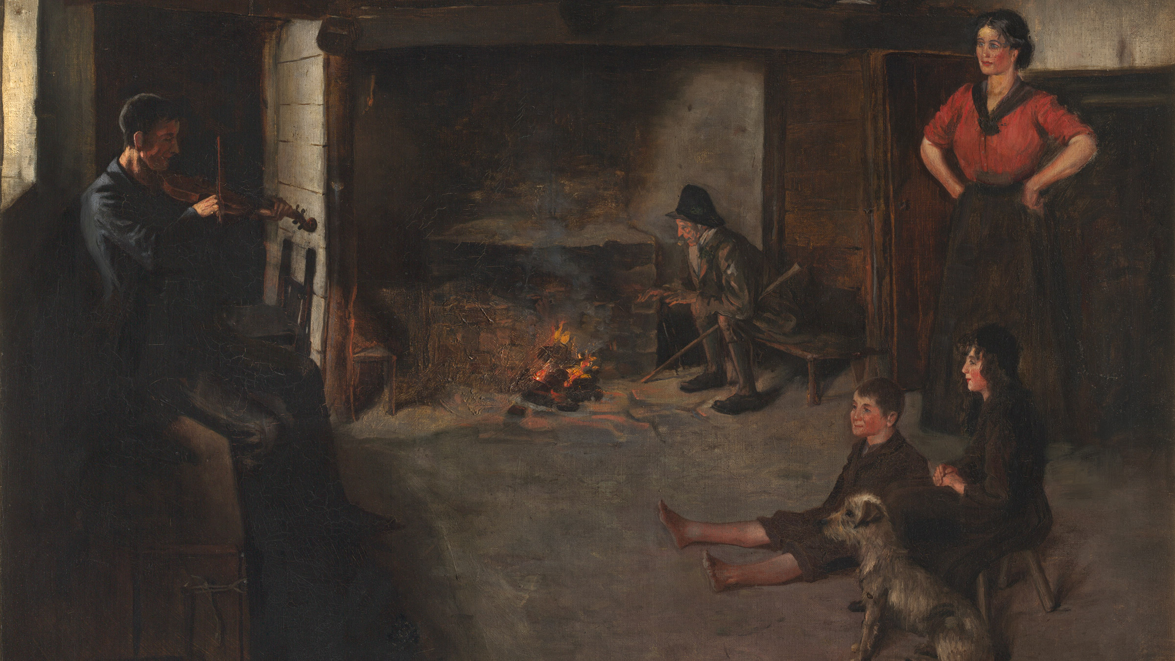 Lest We Forget (Irish Cottage Interior c.1860). Oil on canvas. Date unknown. Photo by Frank Poole. Irish School. Copyright Frank Poole 2012.
