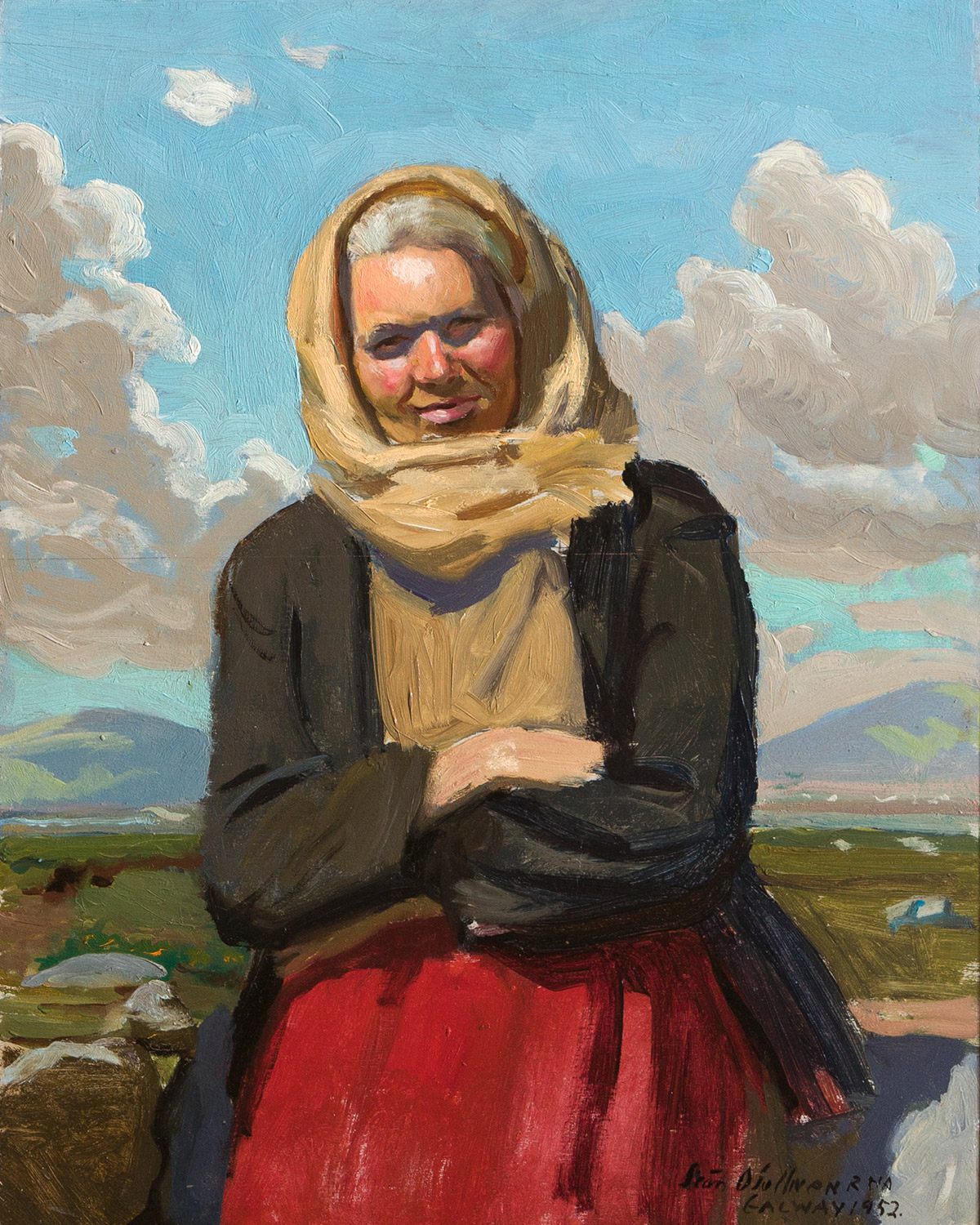"A painted portrait entitled ""Connemara Woman with Red Skirt"" by the artist Seán O'Sullivan"