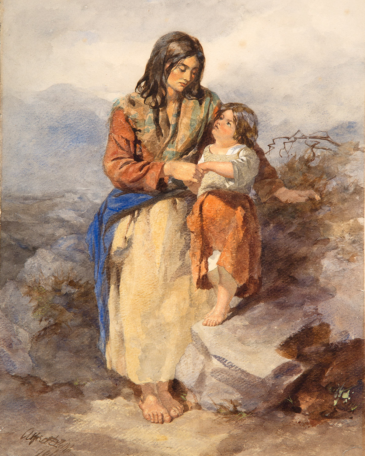 "The painting entitled ""Galway Woman and Child"" by the artist Alfred Downing Fripp"