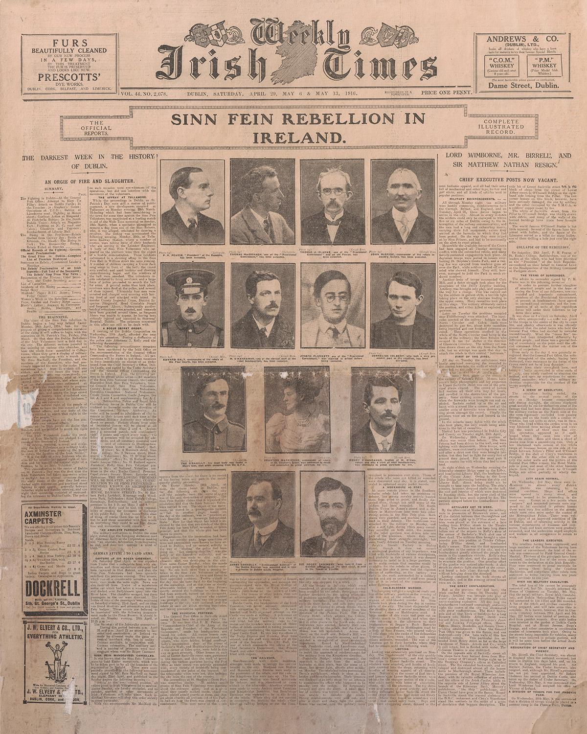 The cover of a 1916 issue of The Weekly Irish Times newspaper