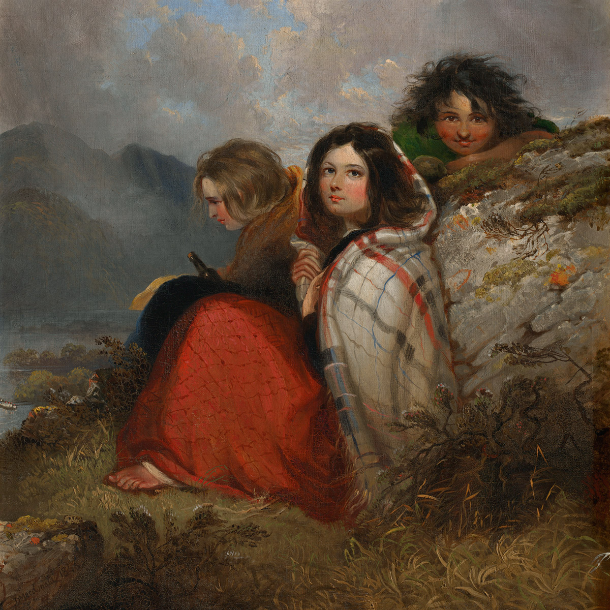 "A painting entitled ""Irish Peasant Children"" by Daniel Macdonald"